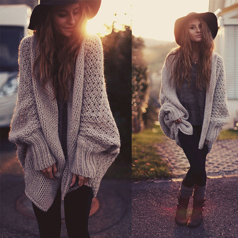 Stylish Women Autumn Loose Knit Sweaters Cardigans Coatssweaters On