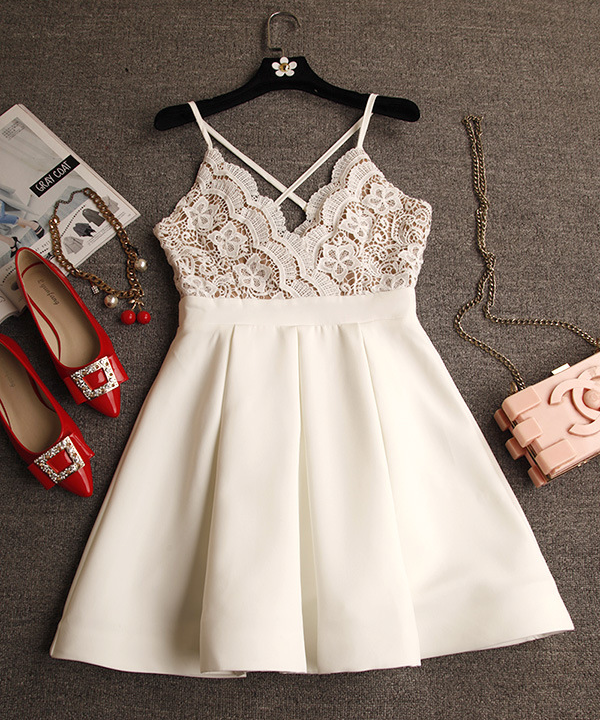 6ab8359a87f1b White A-line lace short prom dress,homecoming dresses · Little Cute ...