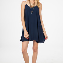 70b8c83efa64 Envy This Collect. Navy Solid Mini Swing Dress