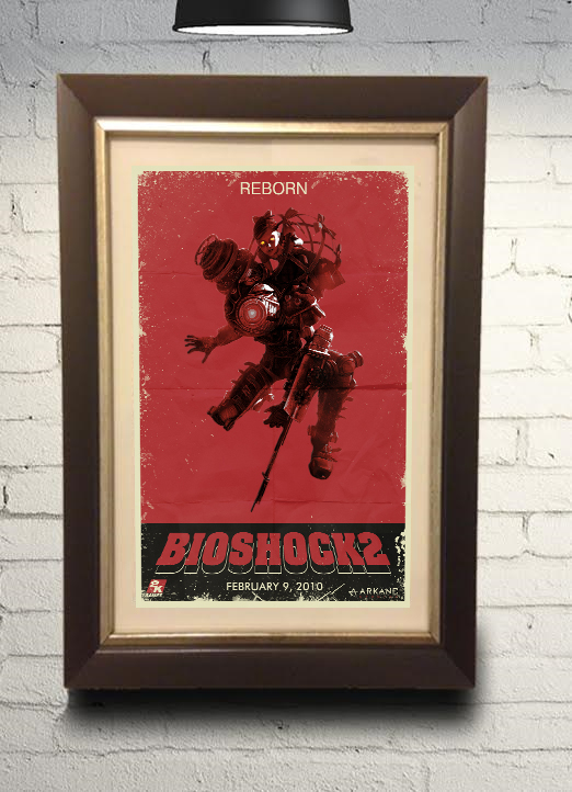 Bioshock 2 Big Sister Little Sister Grindhouse Style Retro Art Print