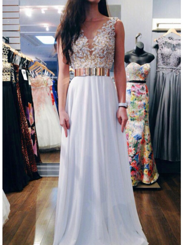 Long Prom Dresswhite Prom Dress Open Back Prom Dress Chiffon Prom