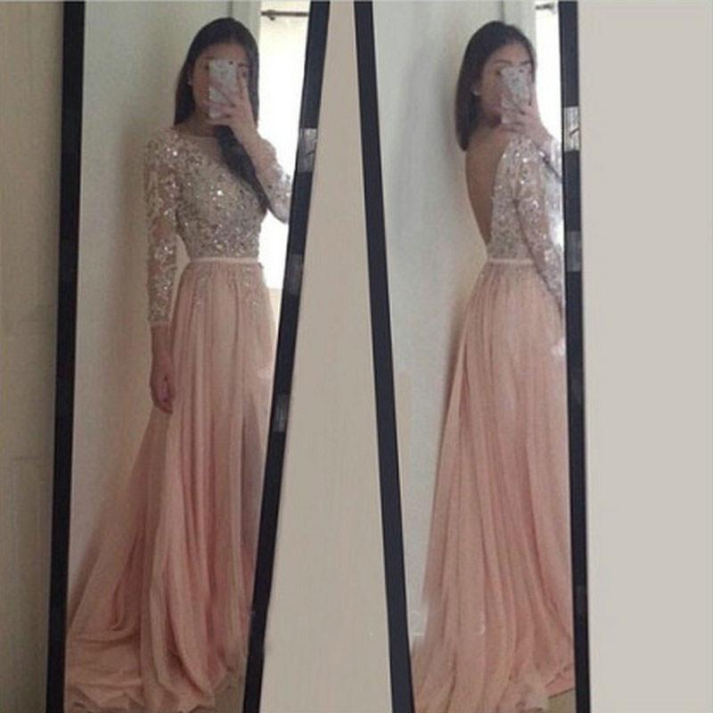 ce6b9925f6b7e Long Sleeves Beading Prom Dresses, Backless Chiffon Evening Dresses ...