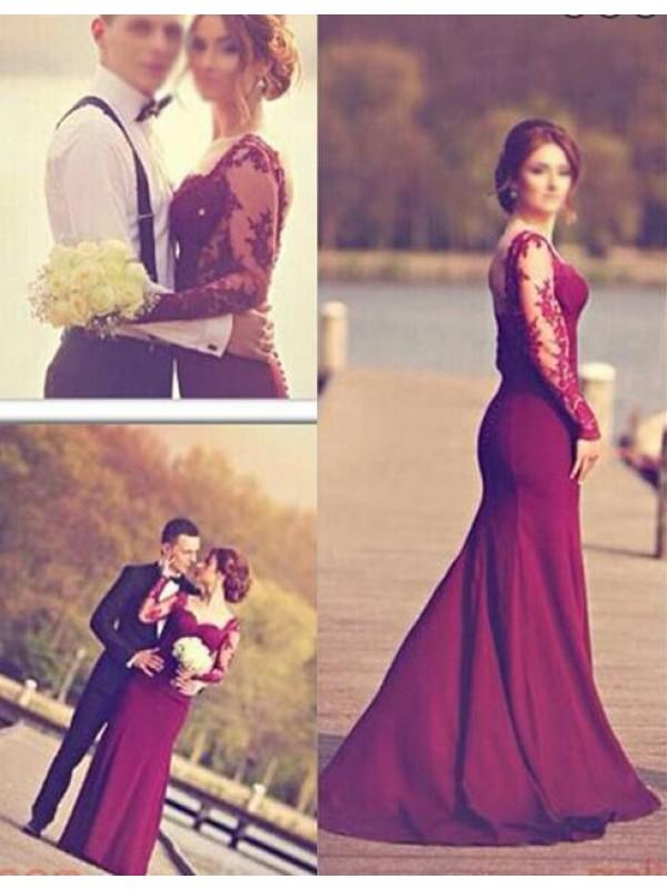 Long Prom Dress,Long sleeve prom dress, mermaid prom dress, long ...