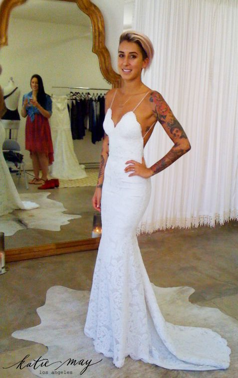 long wedding dress,spaghetti straps wedding dresses,white lace ...