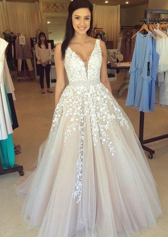 babacf275722 new arrival tulle prom dress,v neck prom dress,floor length prom dresses on  Storenvy
