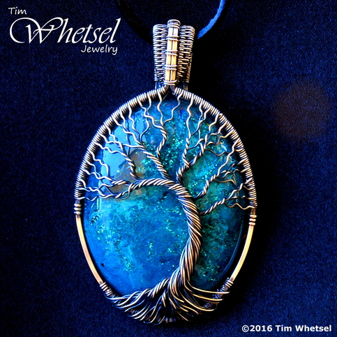 Silver Wire Wrap Tree Of Life Pendant Blue Glow In The