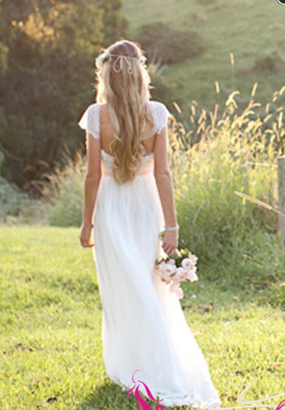 J157 Summer Beach Wedding Dresses Cap Sleeve Wedding Dress On