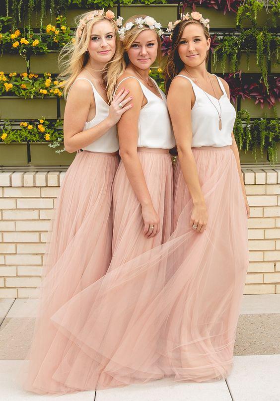 505057874def Bridesmaid Dress Elegant A-line V-neck Tulle Blush Bridesmaid Dresses on  Storenvy