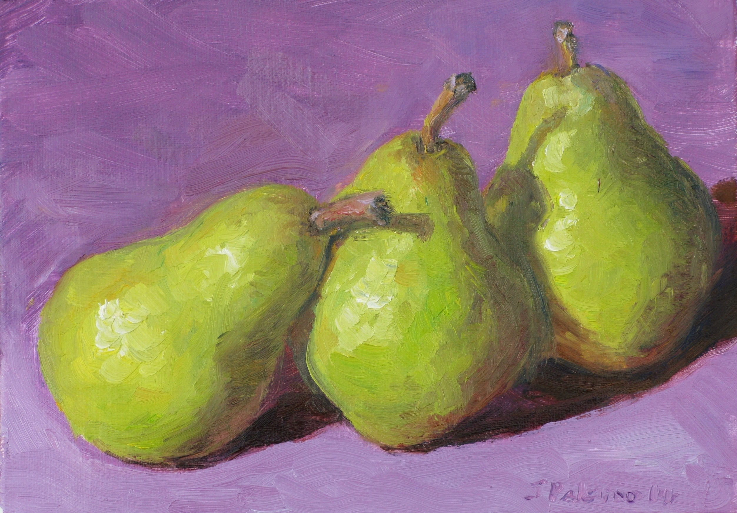 Trio Of Pears Fruit Original Oil Painting On Storenvy