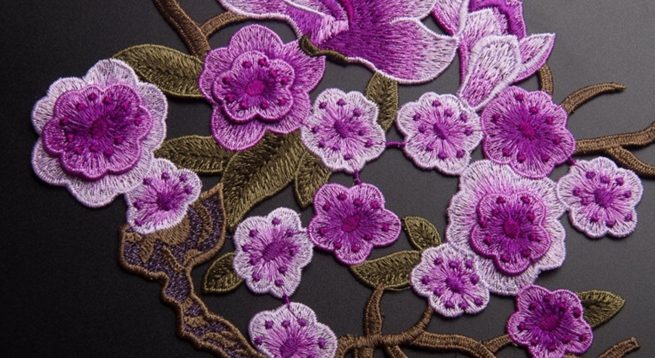 Full Bloom Plum Flower And Magnolia Patch Flower Patch Embroidered