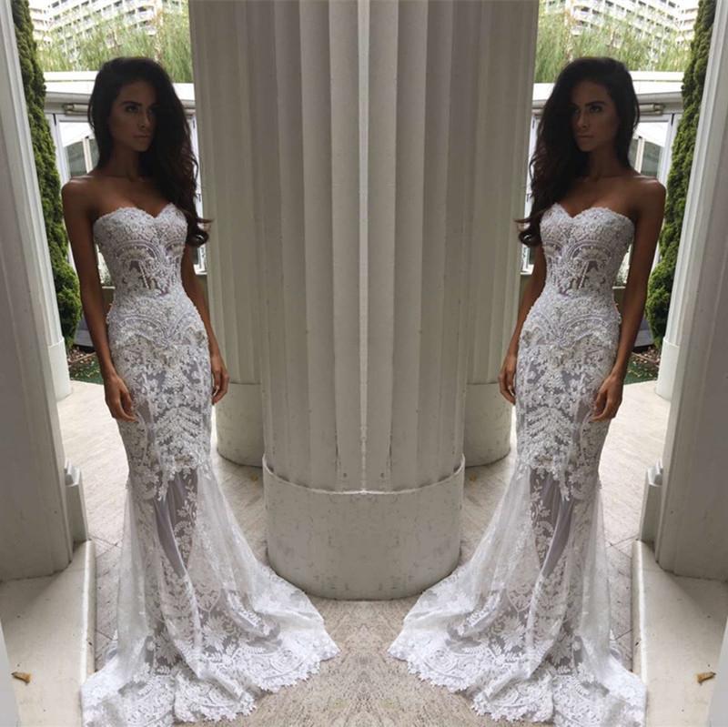 Fashion Mermaid Strapless White Long Wedding Dress On Storenvy