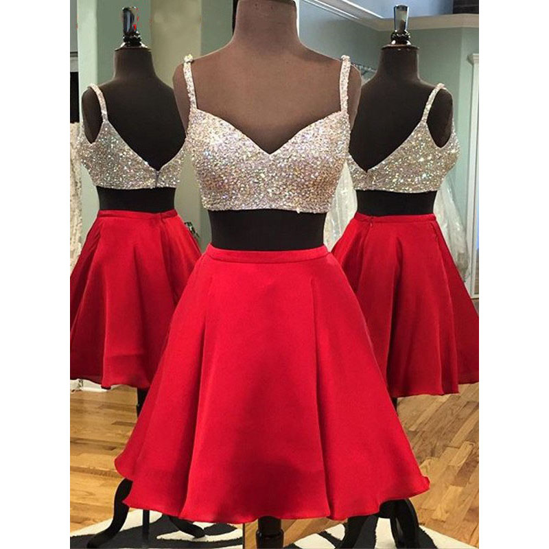 a6323f57c387f Spaghetti Straps Sequined Homecoming Dress with Pleats, Two Piece Red Satin  Homecoming Dress, Sexy