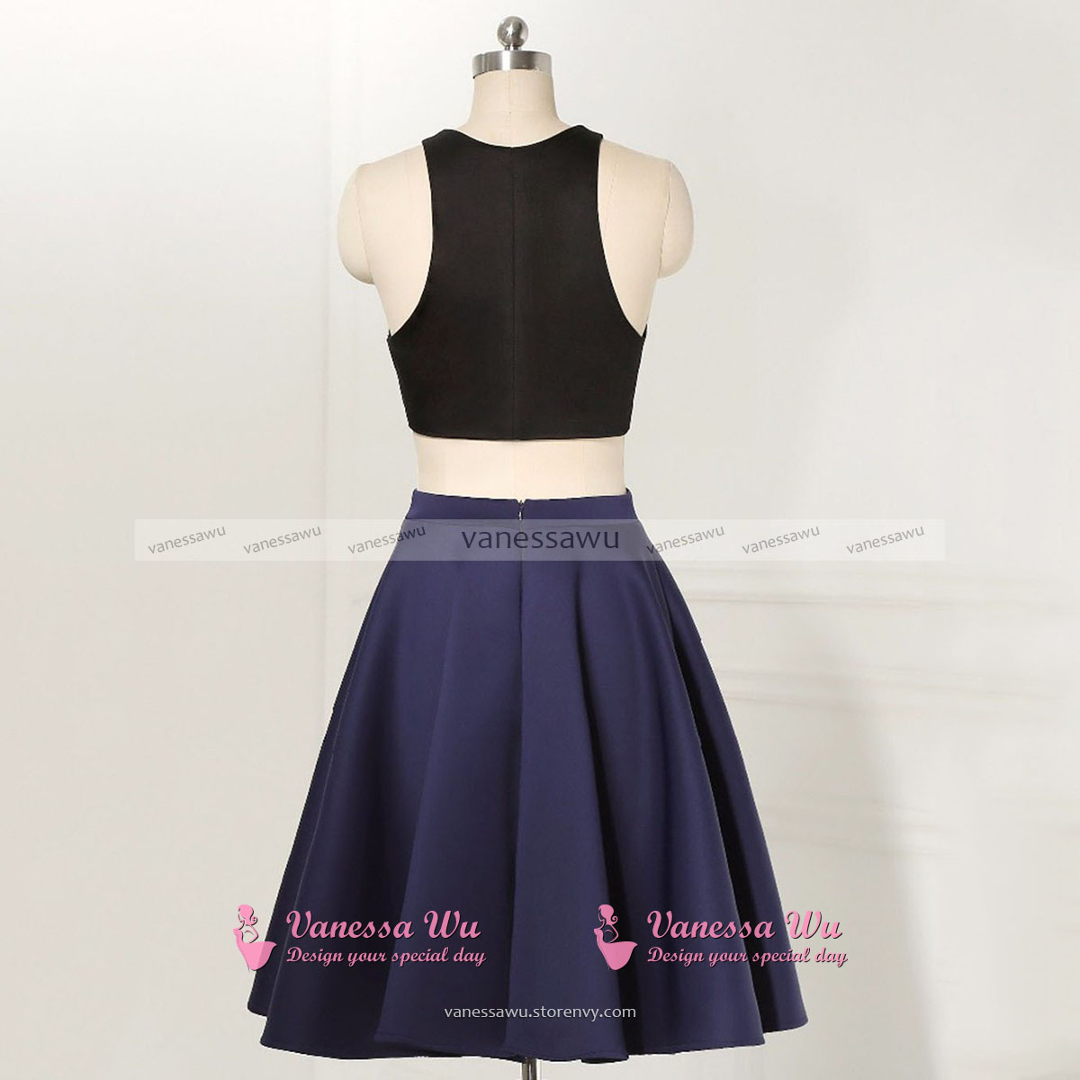 4002a2000db Jewel Neck Two Piece Homecoming Dress