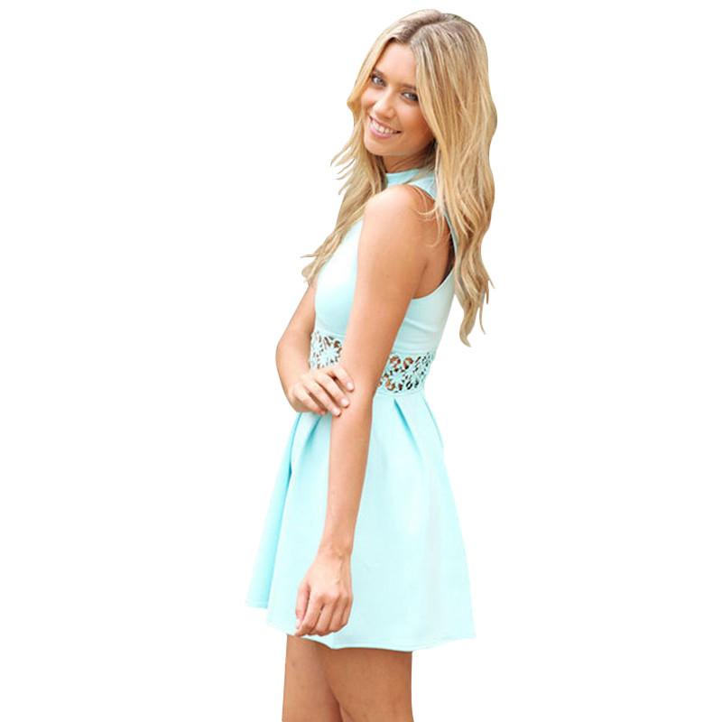 cb833203734 blue Sleeveless Turtleneck Lace Stitching Mint women dress Party summer  dress Casual Slim vestidos de festa ...