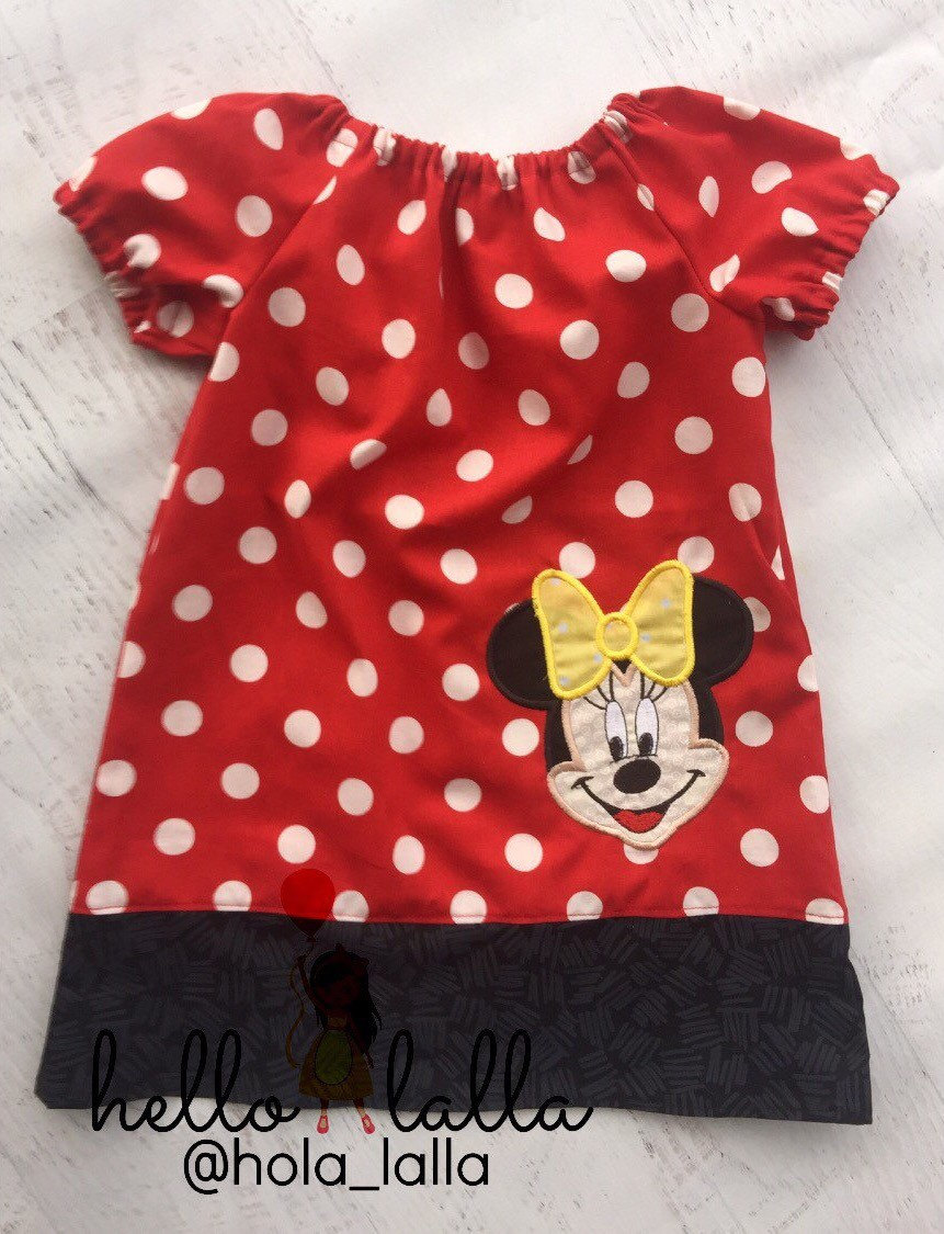 c57b43c43 Minnie Mouse Red Polka Dot Peasant Dress Vacation Birthday Photo Baby  Toddler Girls Vintage Dress Mickey