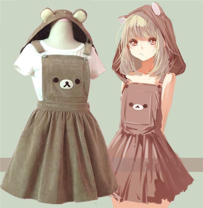Cute cartoon bear hooded braces skirt · Fashion Kawaii ...