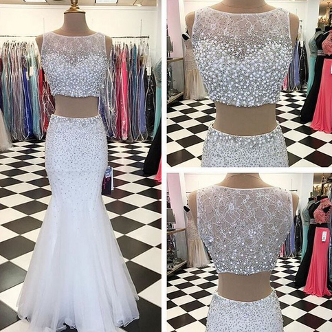 89aacdc83e2 White Two Piece Prom Dresses with Pearl  Sequin Beads