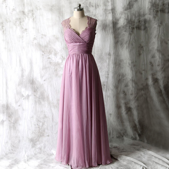 06314fd00eab5 V-neck Lace Straps Chiffon Bridesmaid Dress, Elegant Light Purple Long Bridesmaid  Dress,