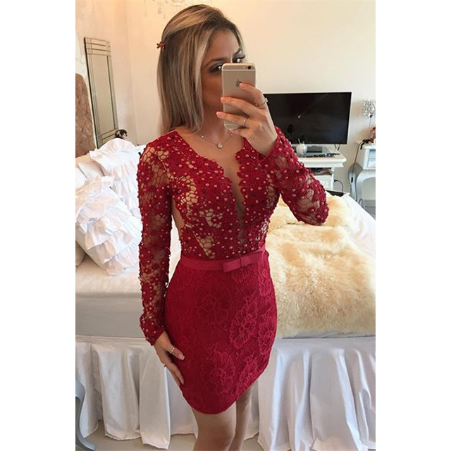 55bf457629684 Scoop Neck See-though Lace Short Prom Dress, Long Sleeved Red Bodycon  Covered Button