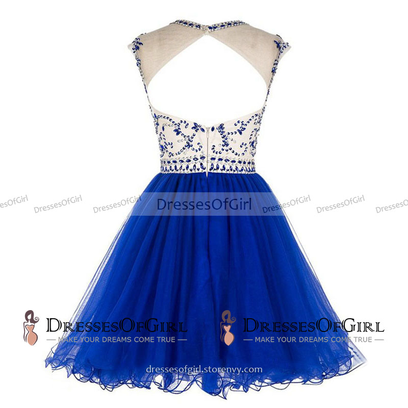 Royal Blue Short Prom Dresses a Line