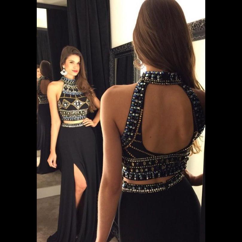 72cec2915d03db High Neck Black Two Piece Chiffon Long Prom Dress