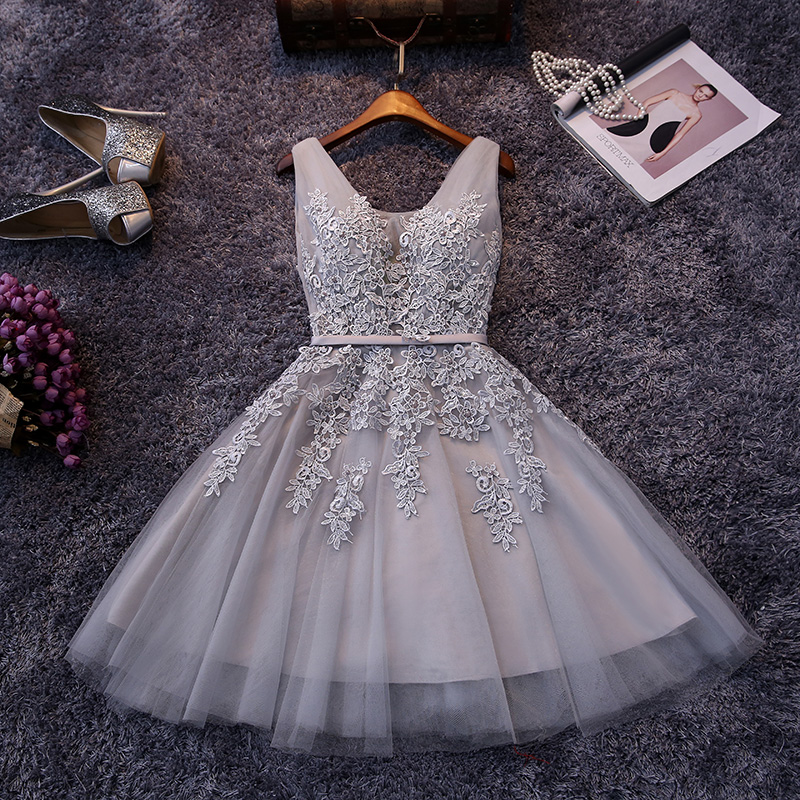 a7bc4aa707 Elegant V-neck Light Gray Short Prom Dress