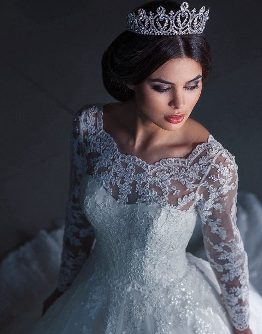 W30 Vintage Bridal Ball Gown Long Sleeve Lace Wedding Dresses ...