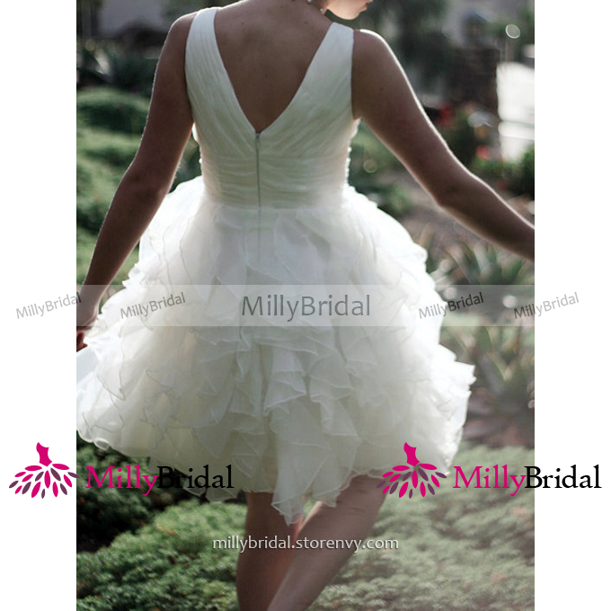092beb3e33e Sexy V-neck Knee Length Wedding Dress