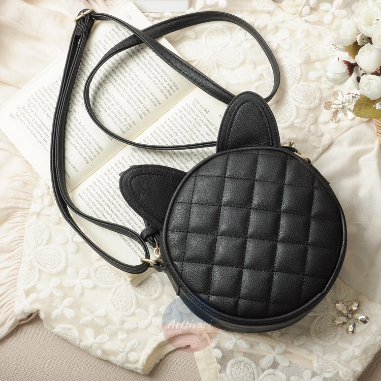 4b1e9ab1996c Stylish Leather Women Messenger Cat Ears Shoulder Bag Round Handbag ...