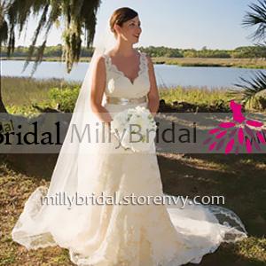 Plunging V Neck Ivory Long Wedding Dress Scalloped Open Back A Line