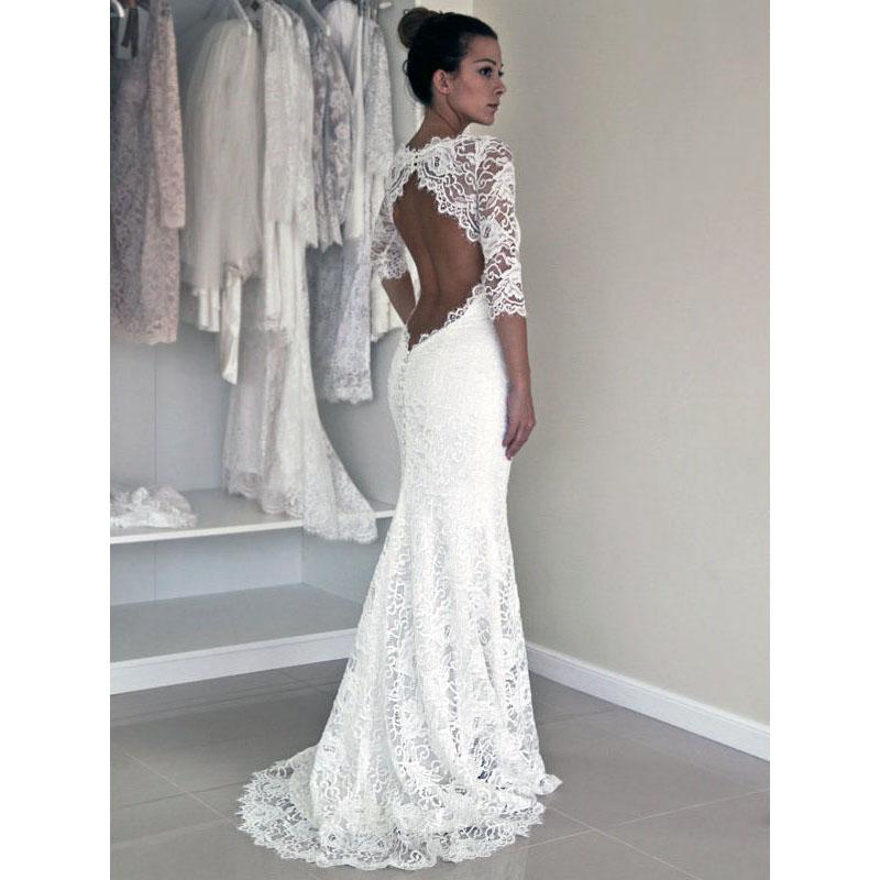 efa98990fe Scoop Neck Illusion White Lace Long Wedding Dress