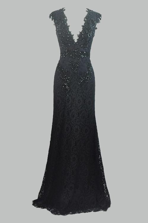 Formal stylish Black Lace Long prom dresses,