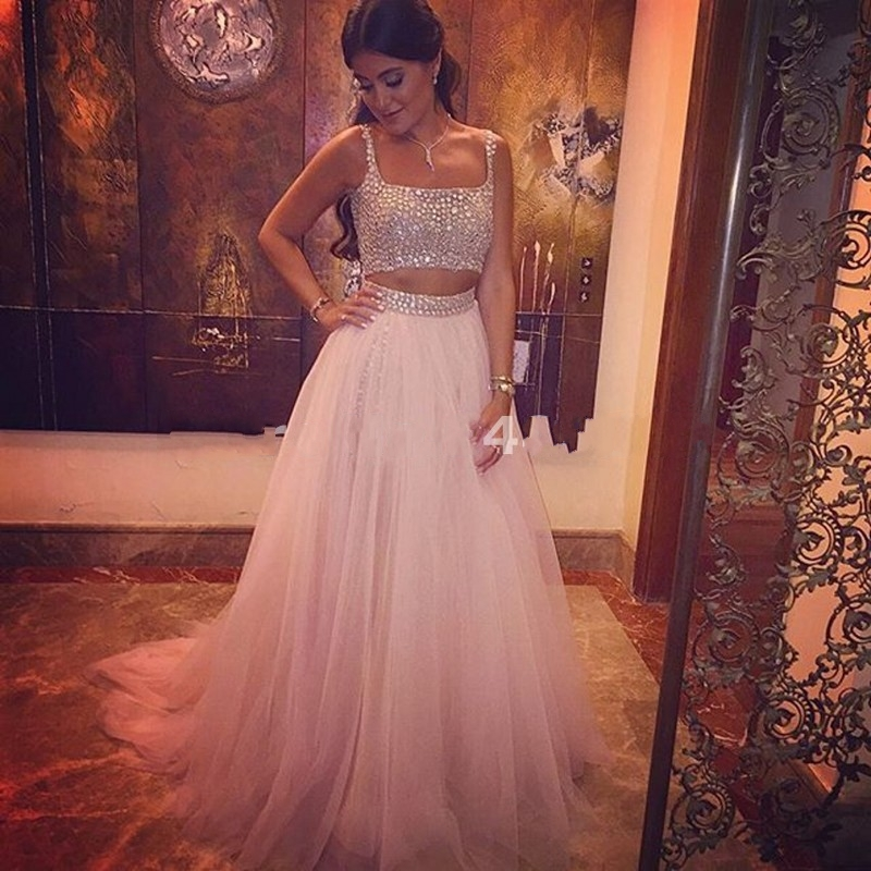 Long Light Pink Prom Dress Womens Crystal Tulle 2 Two Pieces Prom