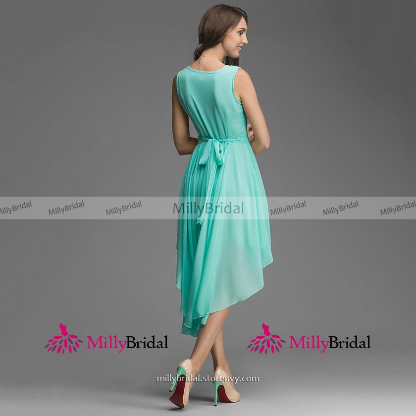5373c049fdd Bateau Neck Mint Green Bridesmaid Dress