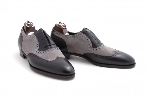 3db55148a862d Handcrafted Men Black And Gray Wingtip Brogue Formal Shoes, Tuxedo Dress  Shoes from Rangoli Collection