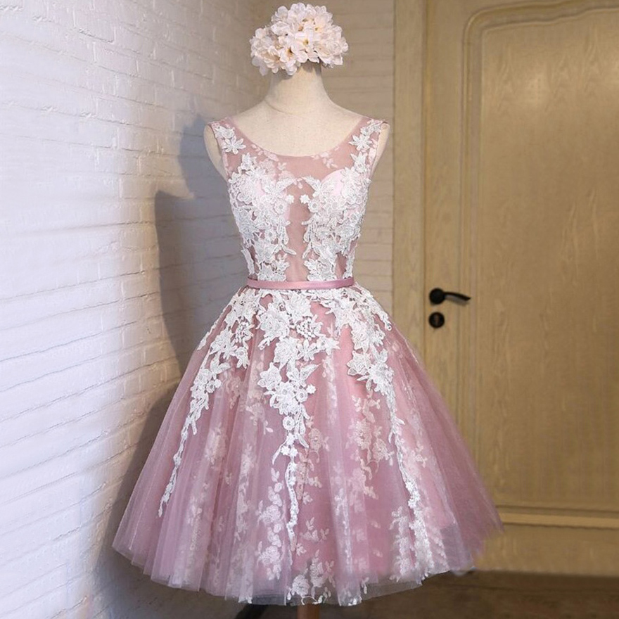 e5671061f07a1 Scoop Neck See-through Tulle Prom Dress, Princess Lace Appliques Pink Short  Prom Dress