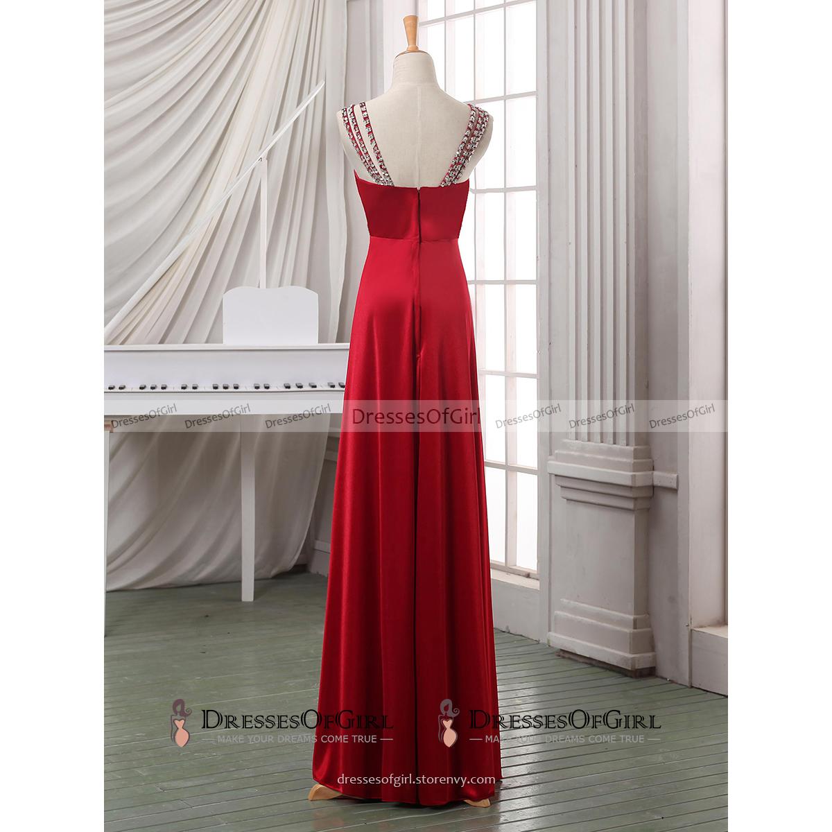 Beaded straps red satin long prom dress v neck sheath floor length prom  dress elegant crystal 70f420527