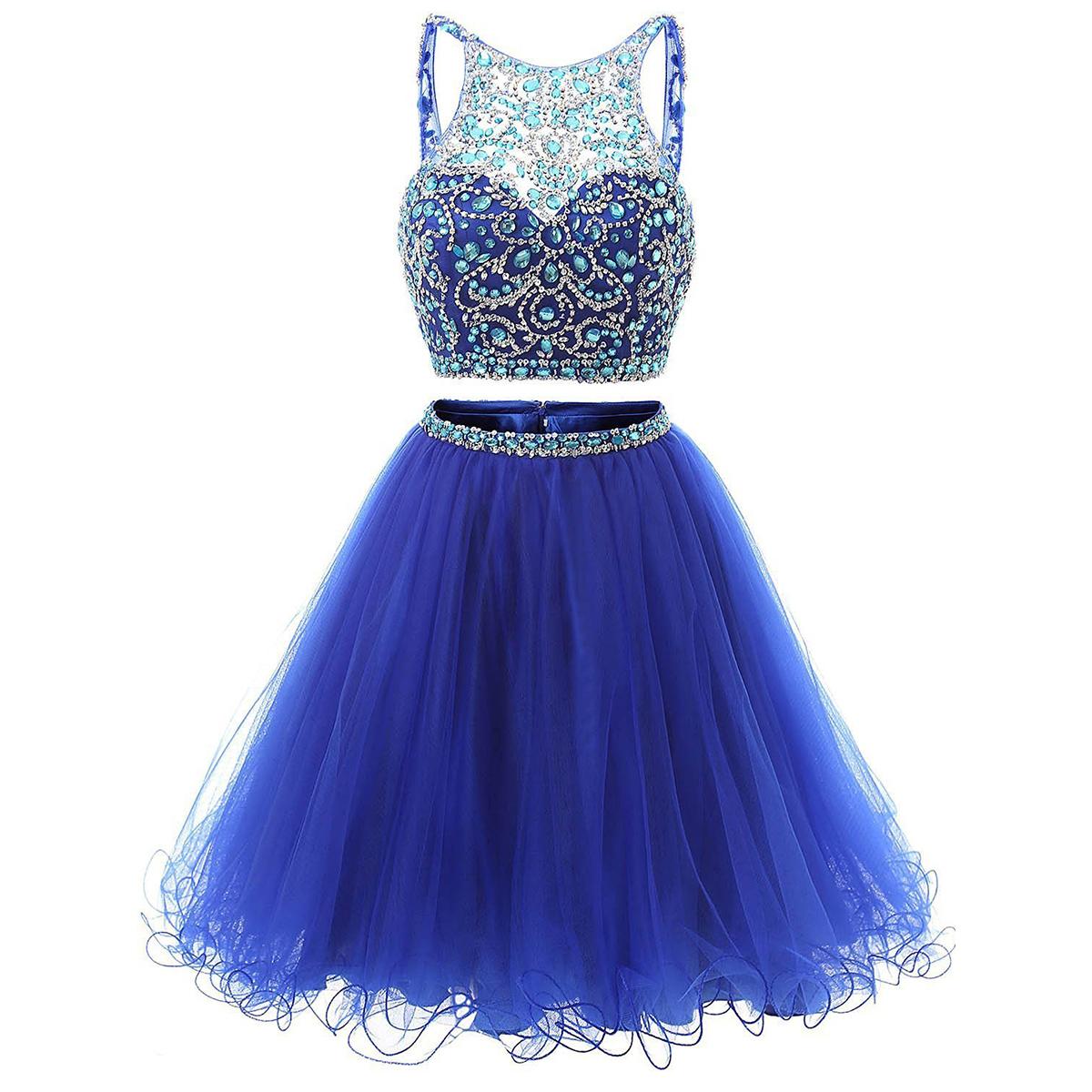 04e9d1d9eb Jewel Neck Illusion Sequins Crystal Prom Dress