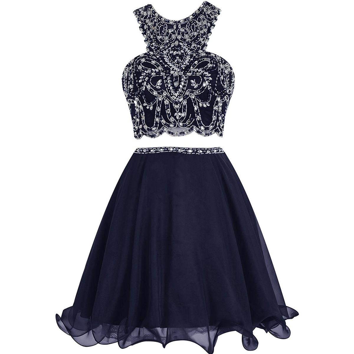 27218f89e05c Jewel Neck Two Piece Short Beaded Prom Dress
