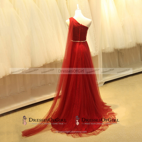 Asymmetric One Shoulder A Line Long Prom Dress Greek Style Pearl