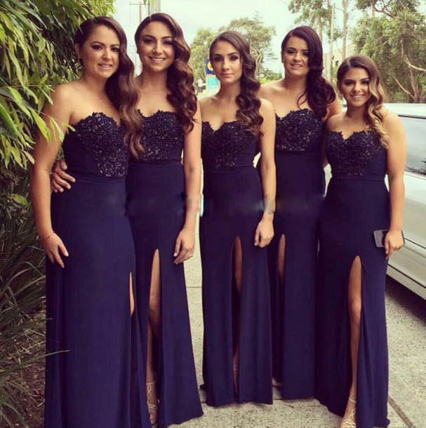 8bf74e4666b68 Dark Blue Long Bridesmaid Dress, Navy Blue Lace Bridesmaid Dresses,Front  Slit Sheath Bridesmaid
