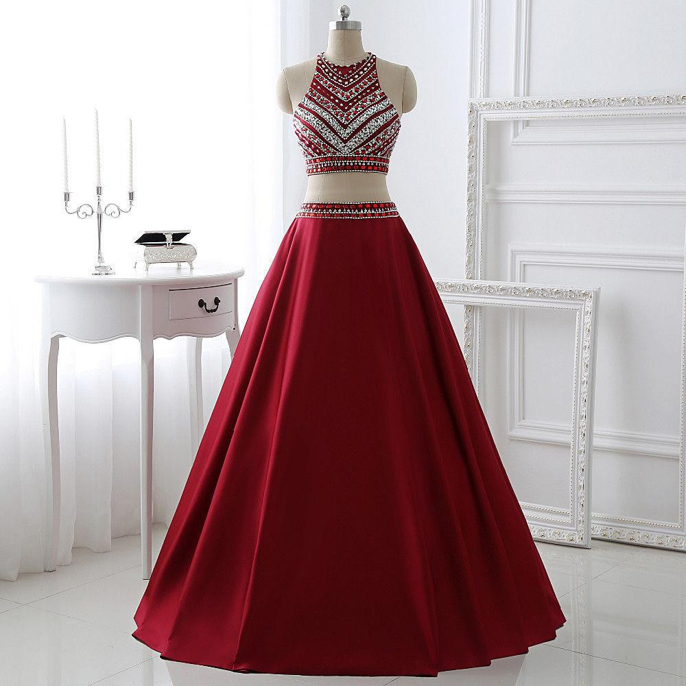 2016 Custom Charming Wine Red Beading Prom Dress,Two Pieces Prom ...
