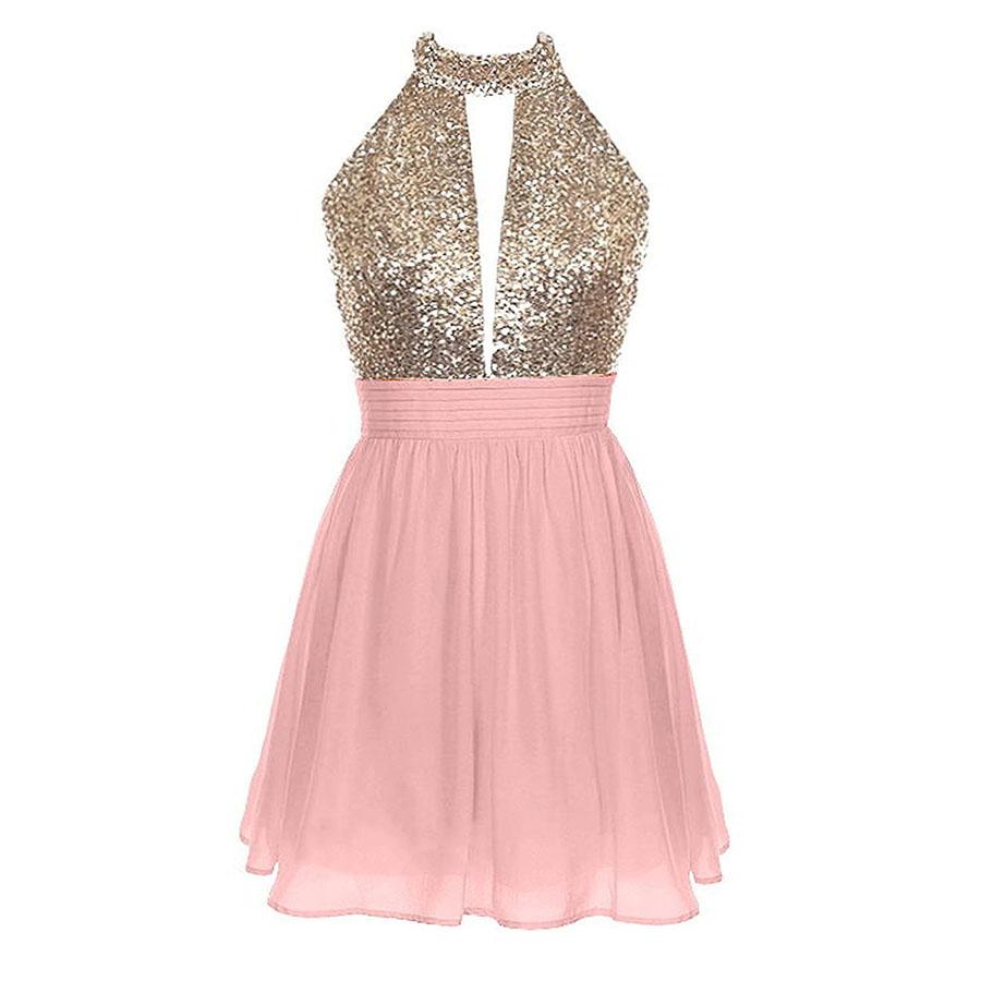 85eb599e905 Sweet Halter Short Backless Chiffon Prom Dress