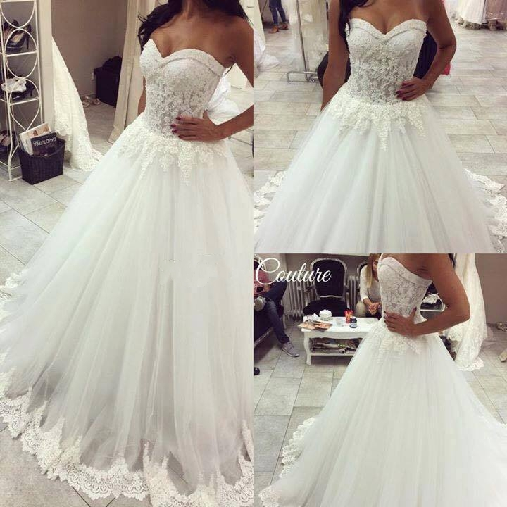 A Line Wedding Dress Sweetheart Neckline 0014