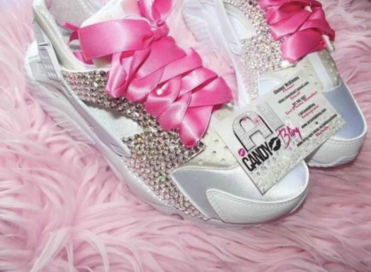 cf5e9a1e7211 READY TO SHIP Women Size 5.5 White Bling Nike Huaraches on Storenvy
