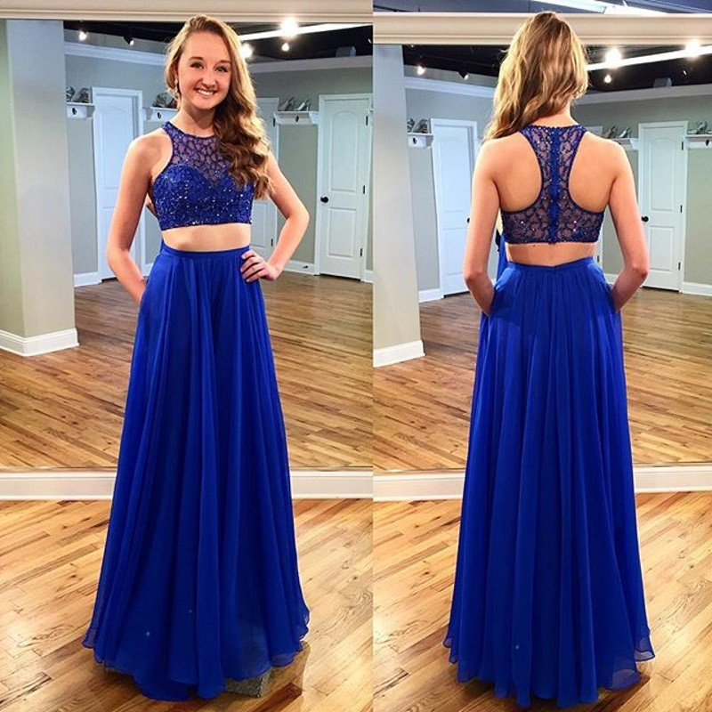 e663f0ee3817 Two Pieces Beading Long Prom Dress Wedding Party Dresses ...