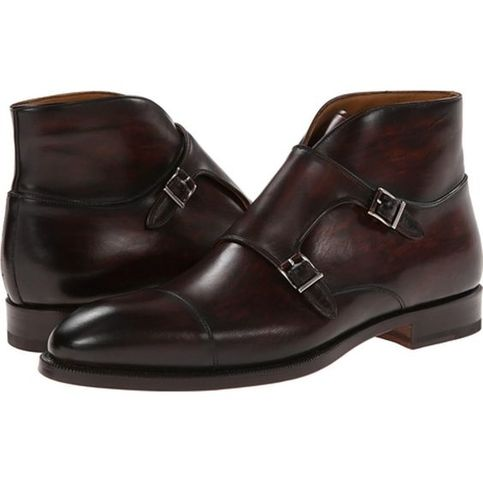 Handmade Men Brown Monk Strap Chukka Leather Boots Mens