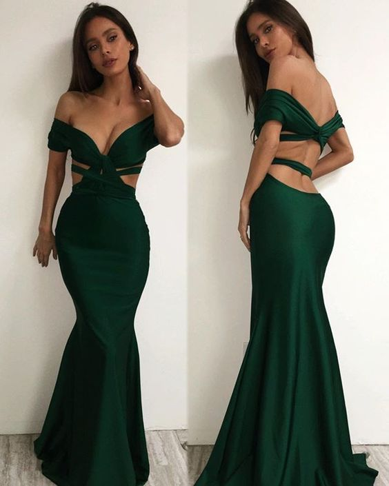 mermaid prom dress off the shoulder evening gowns long open back ...