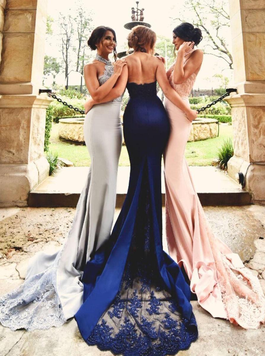 8acd4bb247a Mermaid Trumpet Halter Court Train Satin Sleeveless Long Prom Dress ...