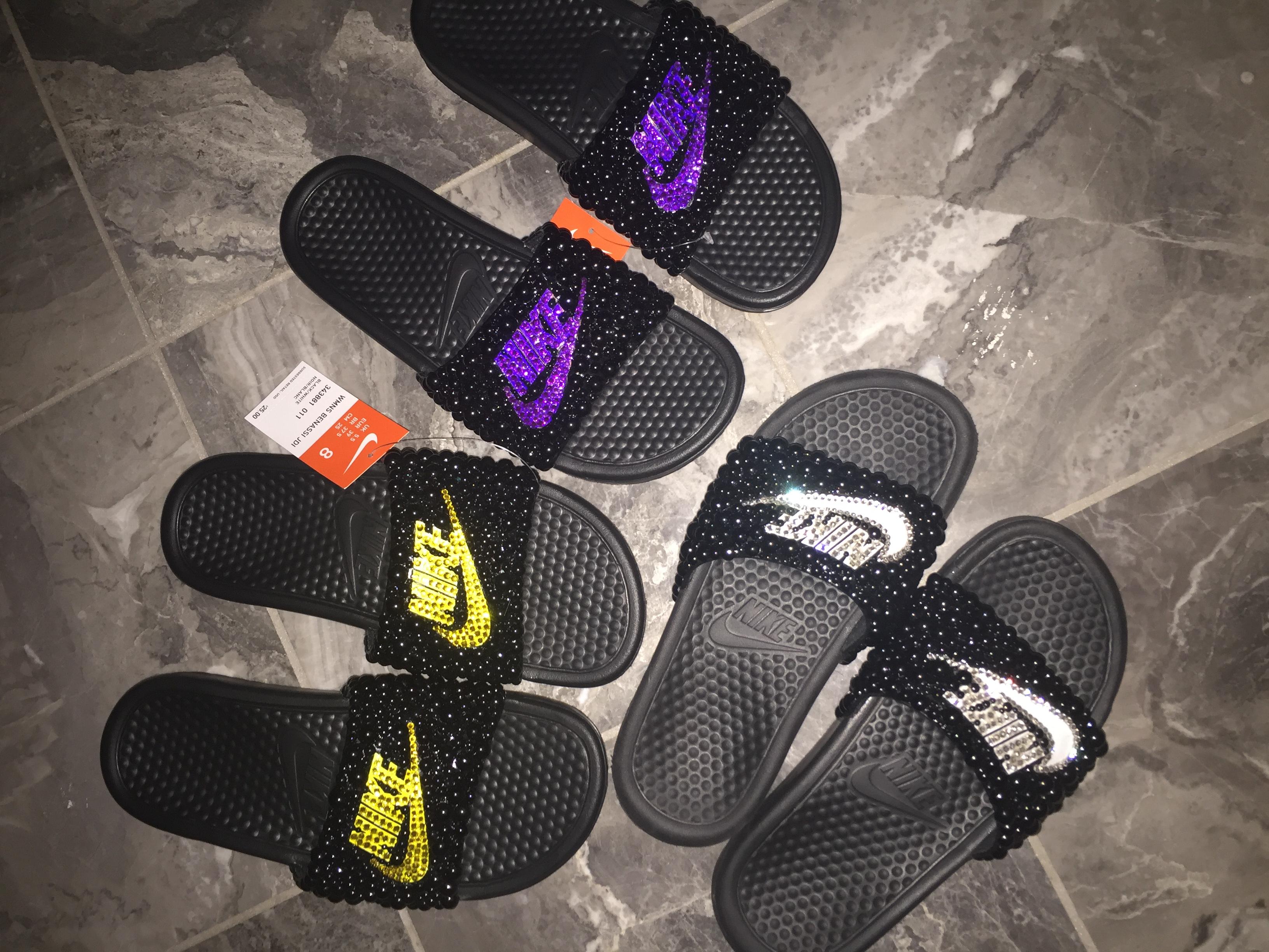 9e5bcd6850db Woman s Nike bling slides on Storenvy